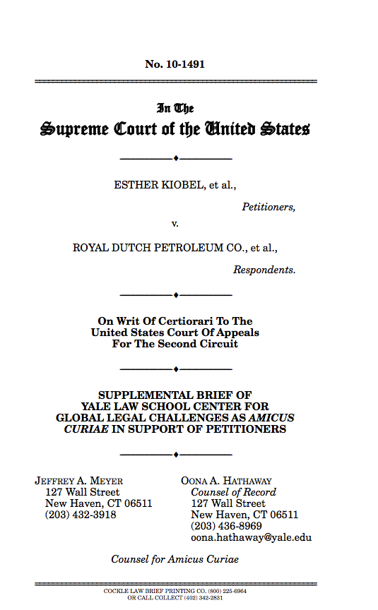 kiobel vs royal dutch petroleum essay Why the supreme court just killed off a whole category of human rights suits kiobel v royal dutch petroleum kiobel suggests that the supreme.