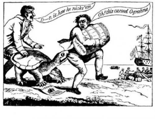 A political cartoon lampooning the Embargo Act of 1807