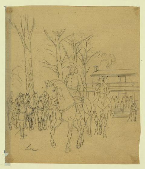 Robert E. Lee leaving the McLean House following his surrender to Ulysses S. Grant